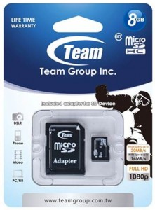 MicroSD + adapter 8GB Class 10 Team Group
