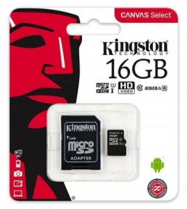 MicroSD + adapter 16 GB Canvas 80/10MB/s